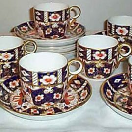 Seven Royal Crown Derby cups and saucers, ca-1904, Price on Request