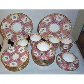 Davenport dessert set, 9 cake plates, 9 cups and saucers, 2 serving platters, ca-1840s