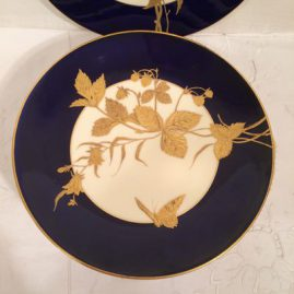 Set of ten Davenport Longport cobalt plates each hand gilded with different butterflies and leaves, 9 inches in diameter, made before 1890, Price on request