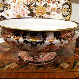 Royal Crown Derby Imari bowl with handles, 1878,  10 1/2 inches wide by 5 inches tall,  Price on Request