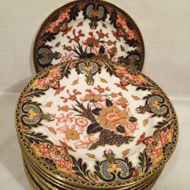 Seventeen Royal Crown Derby Imari dinner plates,  9 1/4 inches, 1880s-1890s, Price on Request
