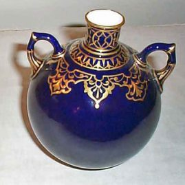Royal Crown Derby cobalt and gold vase, 6 1/2 inches, 1884, Sold.