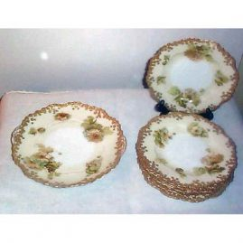 "Old Ivory Silesia dessert set, cake plate-10""and  6 dessert plates-8"", sold"