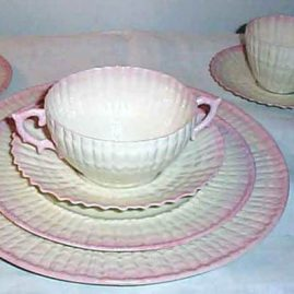 Rare Belleek dinner set, Black Mark, 12 dinners, lunches, cream soups and breads, 8 cups and saucers, Circa-1927-41, $7600.00