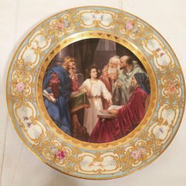 Royal Vienna plate with painting representing the twelve disciples of Christ, 9 1/2 inches. Has raised gilding and flower painting around the border. Late 19th century, Price on Request