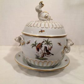 Herend Rothschild bird tureen with dolphin on the top and sides, 13 14 inches tall and 13 inches wide with under plate. Sold.