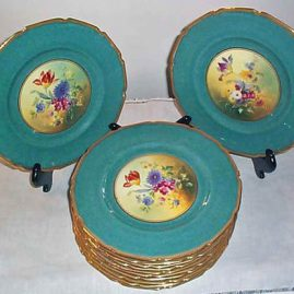 "12 Royal Doulton aqua flowered plates, signed E.W. Percy, each painted differently, ca-1927, 10 1/2"", $2400.00"