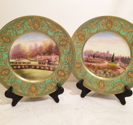 Pair of Royal Doulton plates with beautiful English gardens