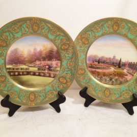 Pair of Royal Worcester museum quality English garden cabinet plates