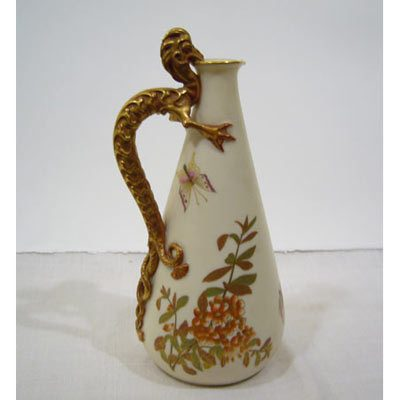 Rare Royal Worcester pitcher with dragon handle, Patent metallic