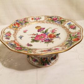 Dresden reticulated compote. Richard Klemm Dresden, with reticulation around the top and bottom of the compote. Diameter-7 3/8 inches, height-3 1/4 inches, 1890s-1915, Price on Request