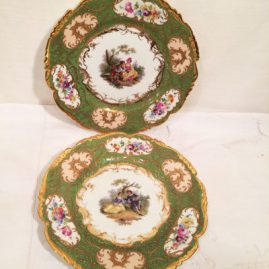 Pair of Richard Klemm Dresden Plates, each painted with different scenes of lovers