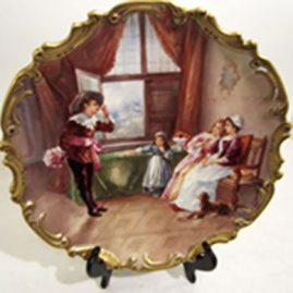 Hand painted porcelain Limoges plaque, artist signed Dubois, with a gentleman courting a young lady. Diameter-13 inches. D&Cie Limoges, late 19th century, Sold.