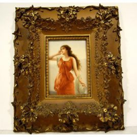 "Hutchenreuther porcelain plaque of Echo artist signed Wagner, ca-1890s-1900,without frame: 7"" by 4 3/4"", with frame: 14"" by 16"", Sold."