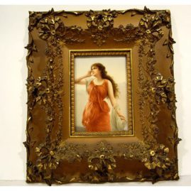 "Hutchenreuther porcelain plaque of Echo artist signed Wagner, ca-1890s-1900, without frame: 7"" by 4 3/4"", with frame:14"" by 16"", Sold"