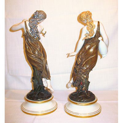 Back of pair of Royal Worcester figurines, Morning Dew and Evening Dew