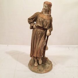 Royal Worcester figure of a lady with a shovel, 13 1/2 inches tall, signed Hadley, ca-1892, $1895.00