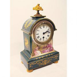 "French hand painted clock with raised gilding, working condition, 13 1/2"", ca-1900, Sold"