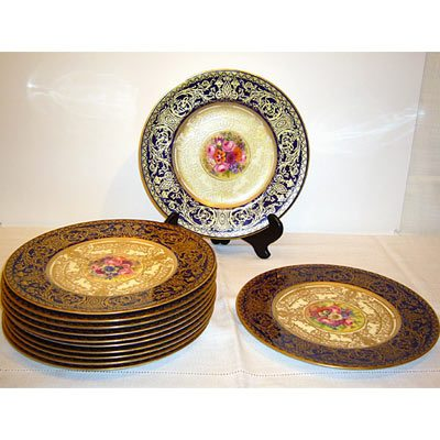 12 Royal Worcester dinner fruit plates each artist signed and each painted with different fruits in the centers with cobalt and gilt borders. Sold  sc 1 st  Elegant Findings Antiques & Royal Worcester China - Elegant Findings Antiques