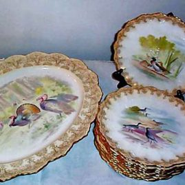 11 piece Doulton Burslem game set, each plate with  different game birds, 1891-1892, $2400.00