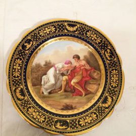 Royal Vienna cobalt plate with raised gilding and blue Jeweling; Konig Eduard v England, under glaze blue beehive mark, artist signed Riemer, Price on Request