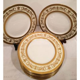 Set of 11 profusely gilded dinner plates made exclusively for Davis Callamore