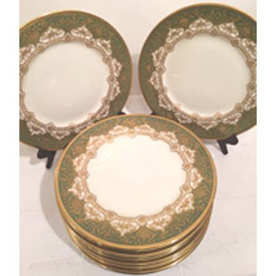 Set of twelve profusely gilded green Royal Doulton dinner plates