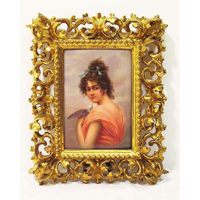 Porcelain plaque of lady with bird signed Dittrich in Venetian frame