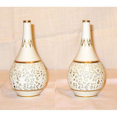 Pair of rare reticulated Grainger Worcester vases