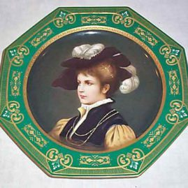 Royal Vienna octagonal plate, underglaze blue beehive mark,  raised gilding, signed C. Herr, 10 1/2 inches, $995.00