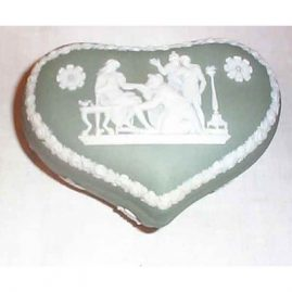 Wedgwood green heart shape box, 4 1/2 inches, 1890-1920, Sold