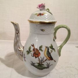 Herend Rothschild bird coffee pot, 9 inches tall with pink rose on top,  Sold