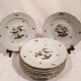 Set of twelve antique Herend Rothschild bird luncheon plates. Each plate is painted with different birds. Diameter-9 inches. Price on Request