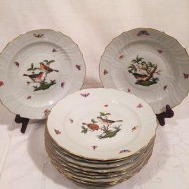 Set of twelve antique Herend Rothschild bird luncheon plates.