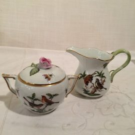 Herend Rothschild bird sugar and creamer, creamer is 3 3/4 inches tall; sugar with pink rose top is 4 inches tall. Sold