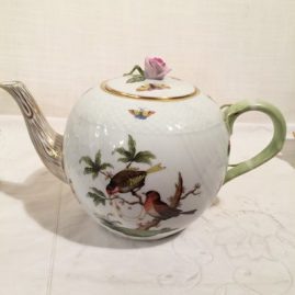 Herend Rothschild bird tea pot with pink rose on top,  11 inches wide by 7 1/2 inches tall.  Sold