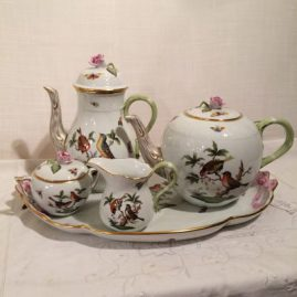 Herend Rothschild bird tea set, with tray with pink ribbon, tea pot coffee pot, and sugar and creamer, Sold
