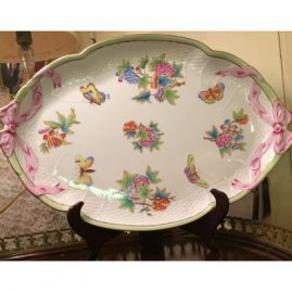 Herend tray in Queen Victoria pattern. It is 17 inches wide by 12 inches tall. Price on Request.