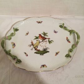 Herend Rothschild bird tray, 13 inches wide by 10 inches, Sold