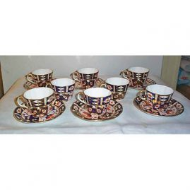 8 Royal Crown Derby curved edge cups and saucers, curved edge
