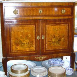 Marquetry inlaid marble top cabinet