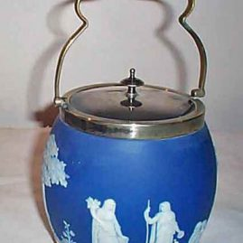 Wedgwood dark blue biscuit jar, before 1890, 10 1/4 inches tall, $495.00