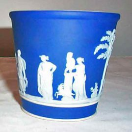 Wedgwood small dark blue jardiniere, 3 1/4 inches, $250.00
