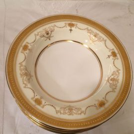 Set of eight Minton jeweled wide rim soup bowls, 9 1/2 inches made exclusively for Davis Collamore and Company. Price on Request