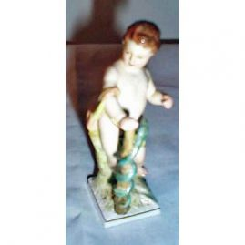 KPM figure of putti with a snake around his cane, 4 3/4 inches, orb and septre mark