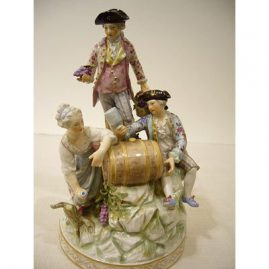 "KPM figural group of three wine makers, scepter and orb mark,  8 1/2"" tall by 5"" wide, Price on Request"