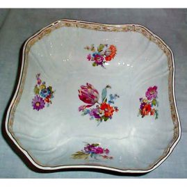 KPM bowl with flowers, orb and septre mark, 10 1/4 inches,  flowers on each side, Sold