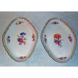 KPM oval bowls with flowers, ca-1912,orb and septre mark,  10 inches, Sold