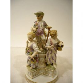 "KPM  figural group of four gardeners, 9 1/2"" tall by 5"" wide, Scepter and orb mark, Price on Request"