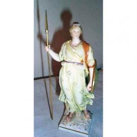 KPM figure of female warrior  with shield, height-73/8 inches. Late 19th century, Price on Request